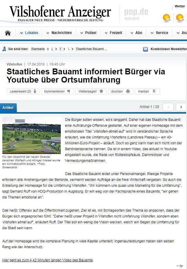 Pressebericht 18.04.2018 über die neue Webseite www.vilshofen-atmet-auf.de
